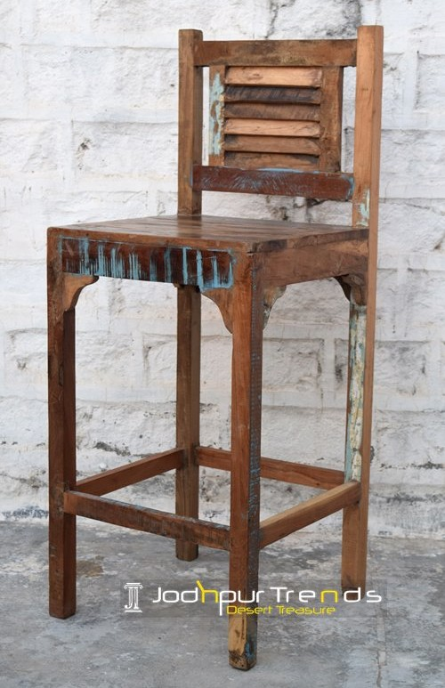 Reclaimed Bar Chair | Commercial Restaurant Wood Chairs | JodhpurTrends.in