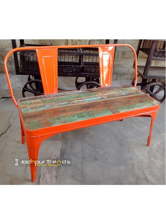 industrial metal bench for outdoor