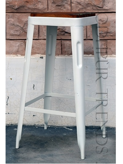 Tall Bar Stool in White Distress Finish | White Cafe Furniture