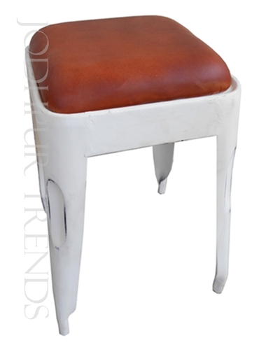 Leather Stool in White | Fast Food Furniture