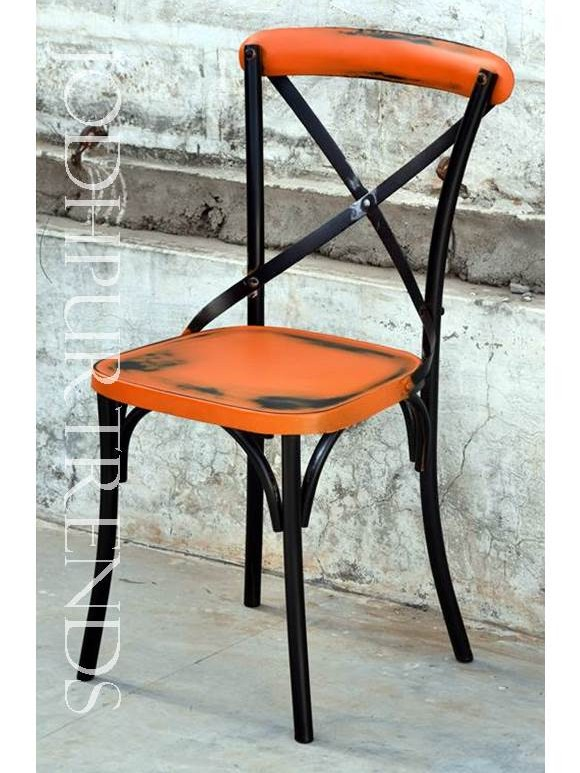 Orange Distressed Chair | Commercial Outdoor Bistro Set