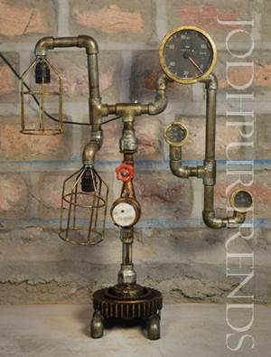 Commercial Water Meter Lamp | Industrial Metal Pipe Furniture