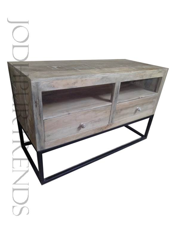 TV Center Unit in White Distress Finish | French Industrial Furniture