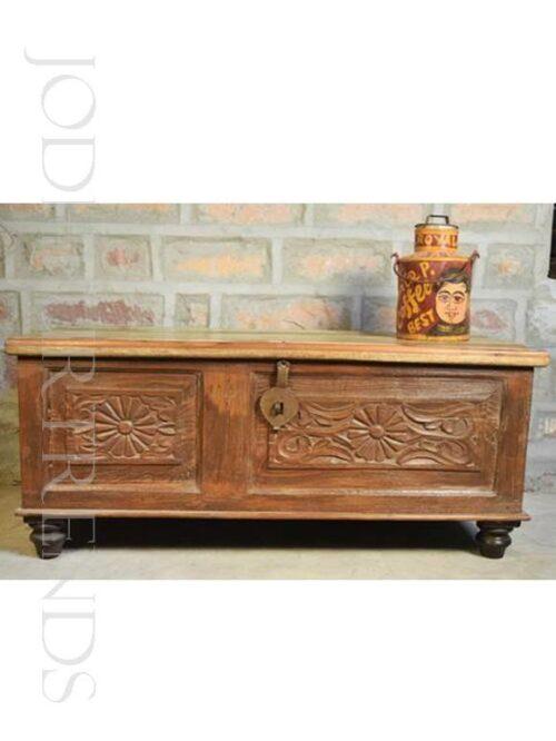 Vintage Handcarved Storage Trunk | Vintage Style Furniture