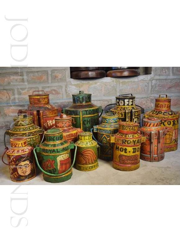Painted Milkcan Accents | Hand Painted Indian Furniture
