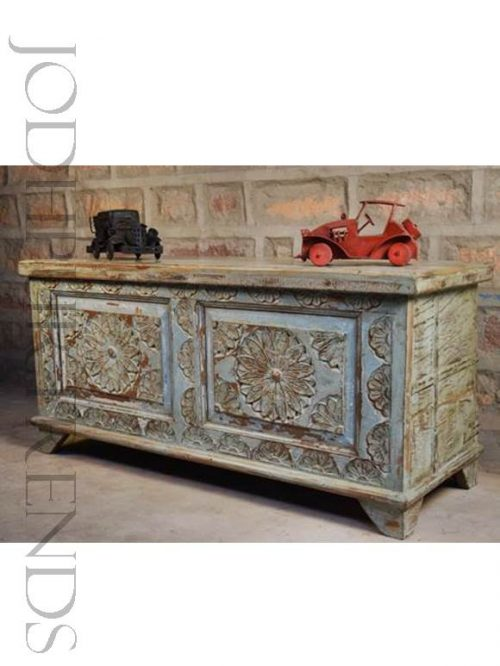 Vintage Carved Storage Trunk | Designer Vintage Furniture