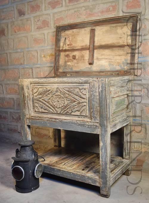 Indian Vintage Storage Table | Restaurant Furniture Vintage