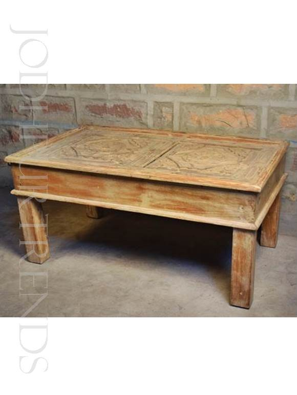 Coffee Table in Natural Distress Finish | Indian Home Furniture