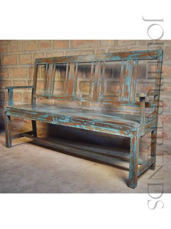 Antique Blue Bench | Vintage Bench
