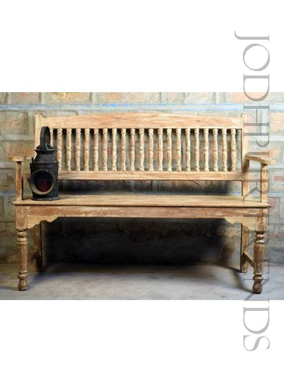 Indian Bench in Distress Finish | Furniture Indian Seating Bench