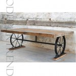 Vintage Dining Table with Base of Wheels | Vintage Industrial Furniture Iron Wood Coffee Table