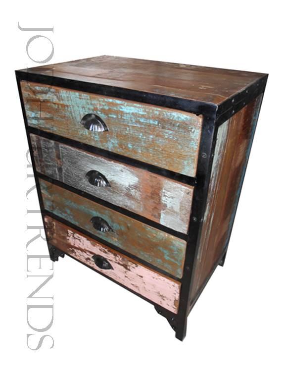 Office Pedestal Table in Reclaimed Wood   Office Furniture Vintage