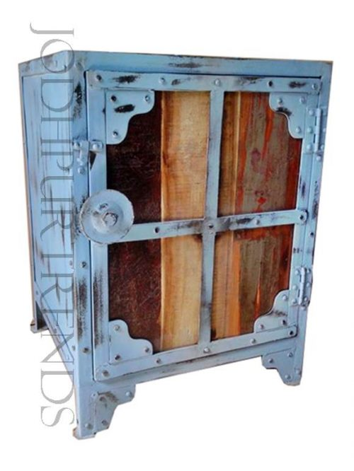 Vintage Bedside in Distress Finish | Home Furniture Industrial