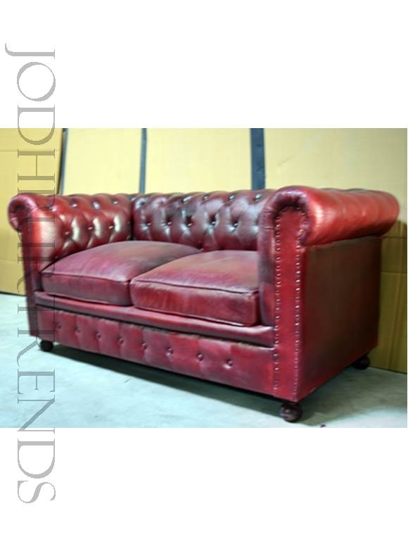 Leather Chesterfield Two-Seater Sofa | Leather Sofa Furniture