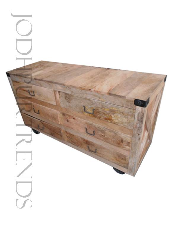 Mango Wood Cabinet | Industrial Wood Furniture