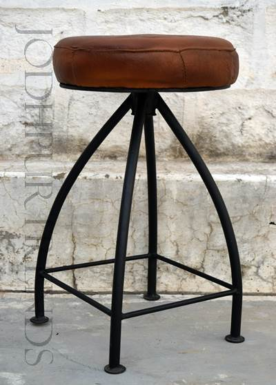 Small Leather Stool | Vintage Industrial Restaurant Furniture