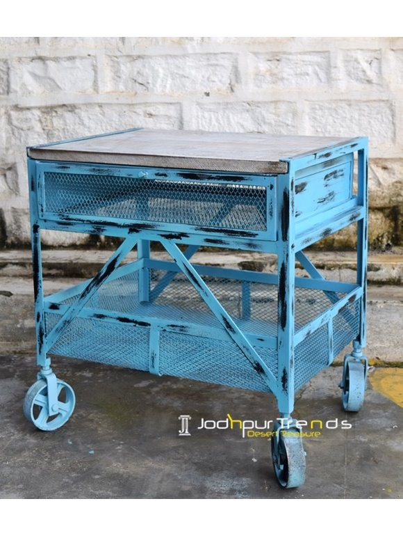 Mesh Nightstand in Distressed Finish | French Vintage Industrial Furniture