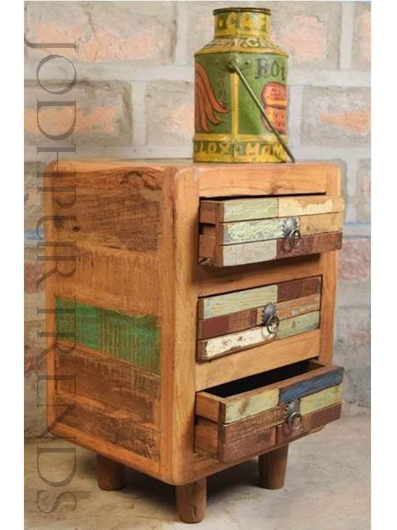 Rustic Nightstand in Reclaimed Wood | Vintage Furniture Cabinet