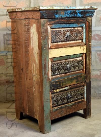 Reclaimed Multicolor Nightstand | Wooden Furniture Vintage