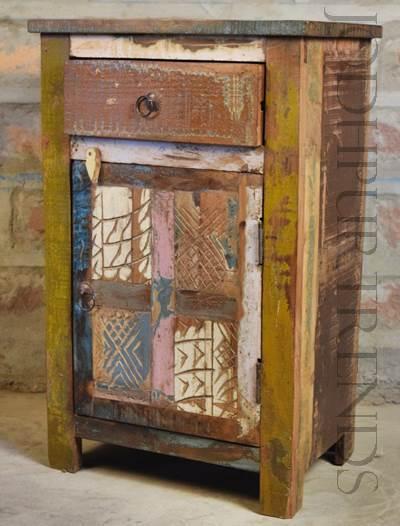 Vintage Indian Nightstand | Vintage Indian Bed Room Furniture
