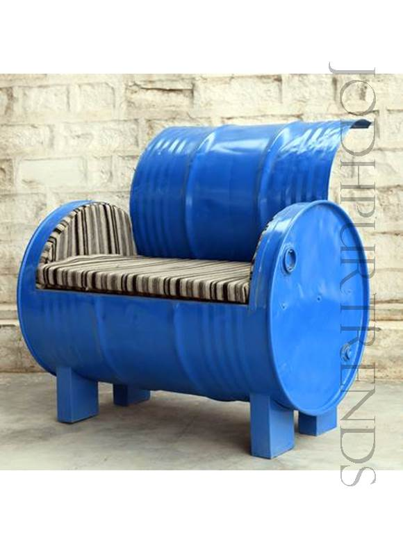 Industrial Drum Bench | Cafe Chairs Wholesale