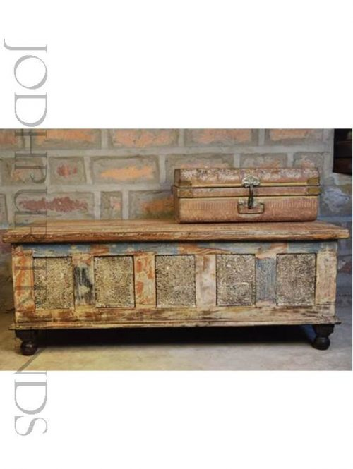 Vintage Reclaimed Wood Storage Trunk | Traditional Indian Furniture