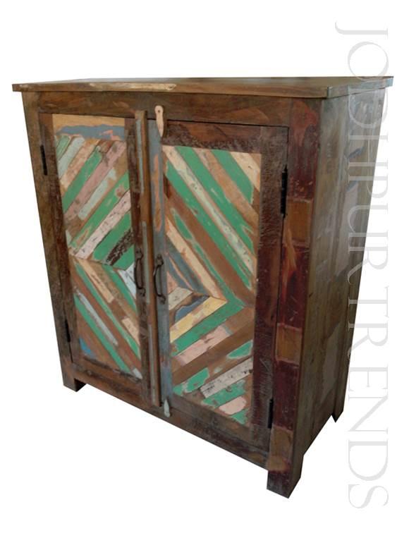 Rustic Multicolor Cabinet | Indian Mango Wood Furniture