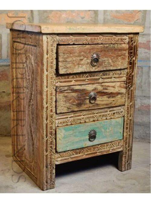 Alluring Carved Bedside Table | Furniture Vintage