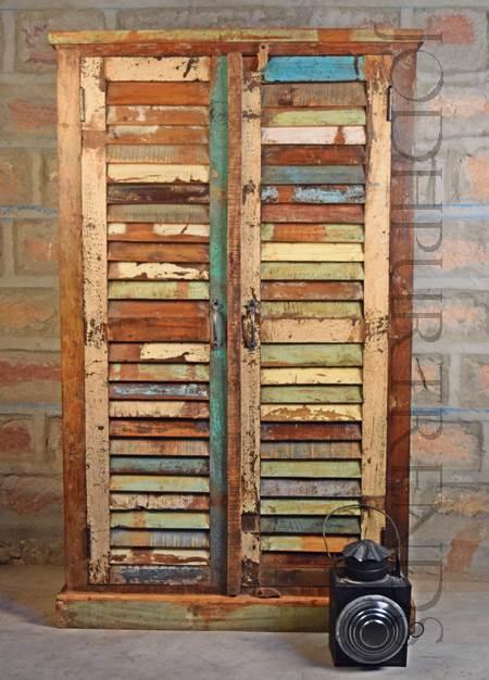 Vintage Almirah in Reclaimed Wood | Vintage Living Room Furniture