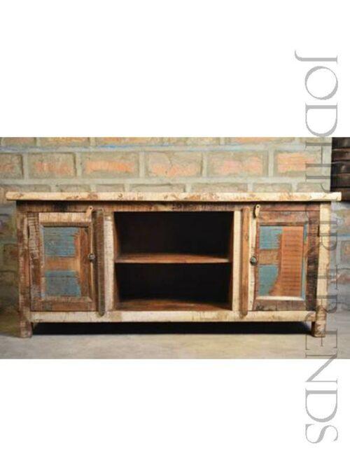 TV Unit in Reclaimed Wood | India Furniture TV Showcase
