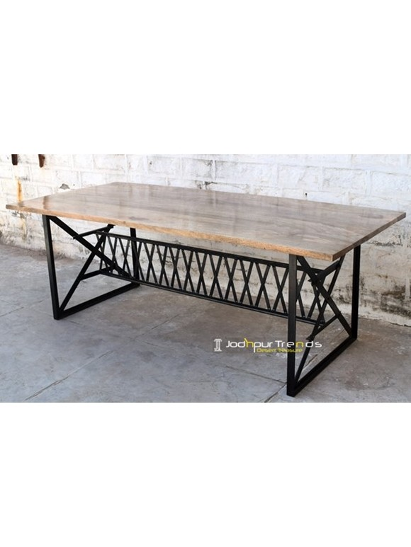 iron wooden dinnig table designs.