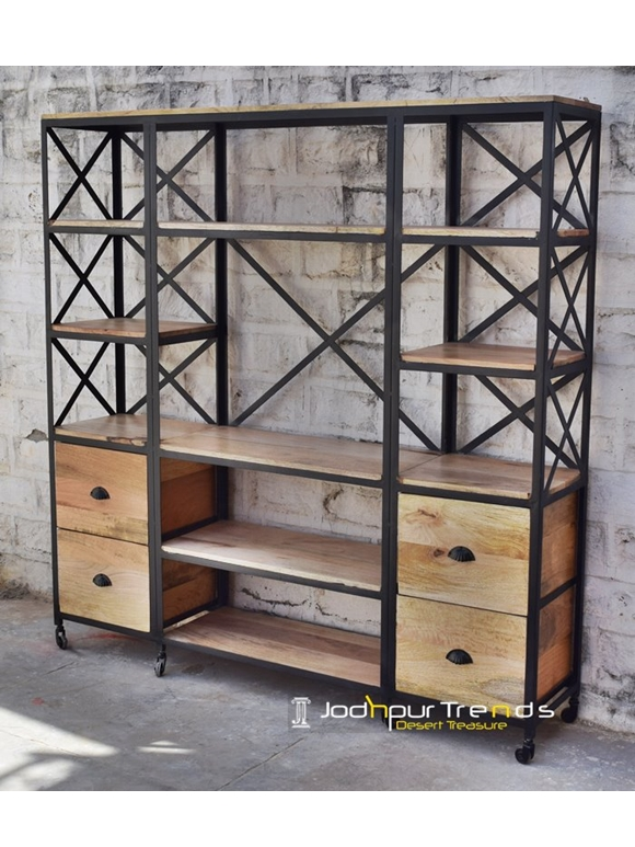 Hutch Cabinet in Industrial Design | Jodhpur Iron Furniture