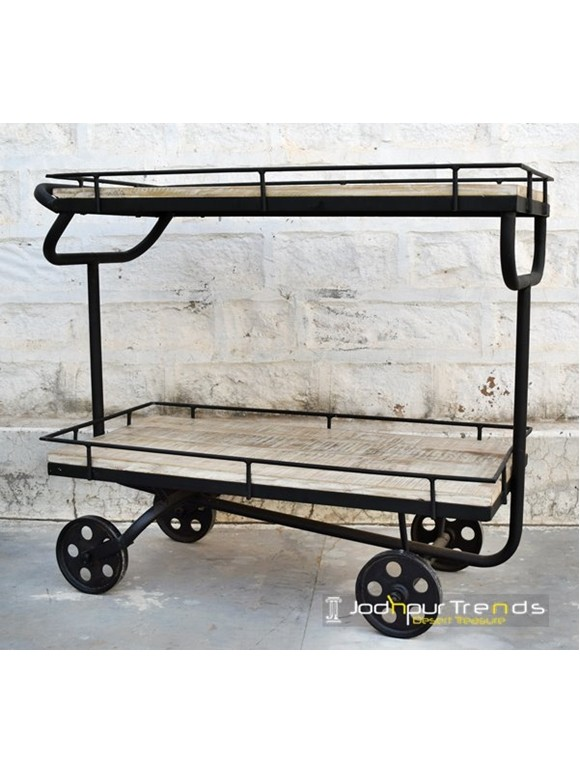 Jodhpur F&B Cart with Steampunk Wheels | Jodhpur Furniture Online
