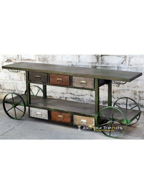 Wheel Trolley with Shelves | Buy Jodhpur Furniture Online
