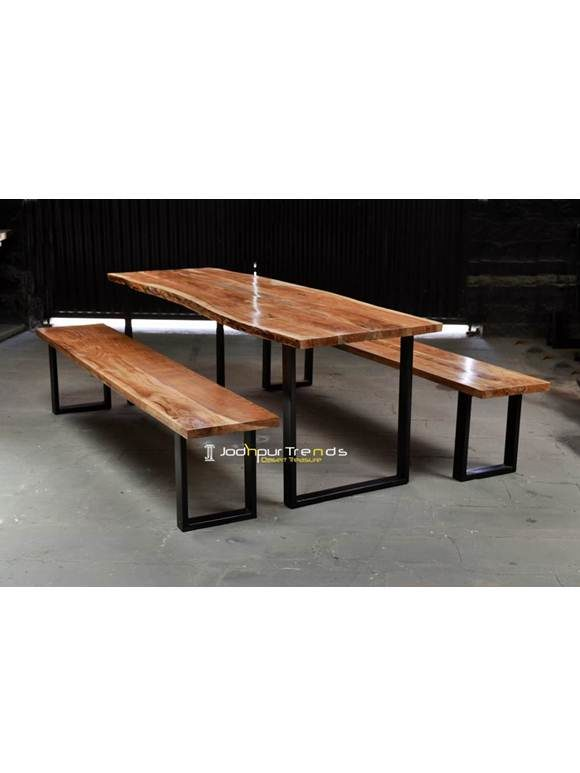 Iron Live edge Wooden Dining Table Furniture