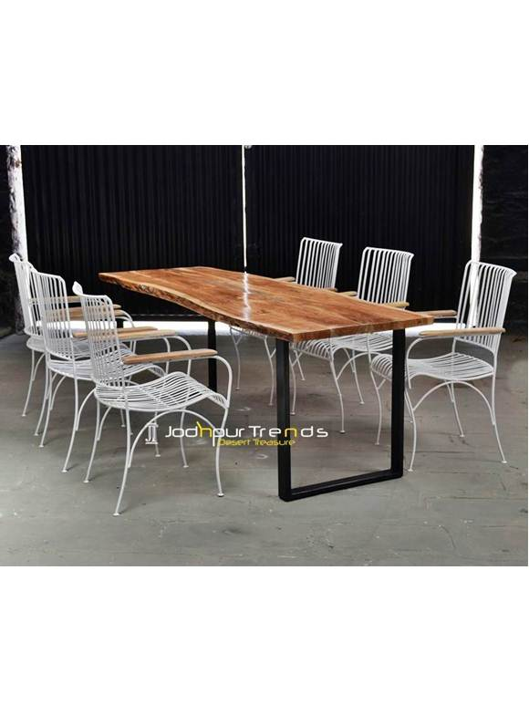Outdoor Resort Furniture, Iron Wood Table Set, Vintage Industrial Cafeteria Table