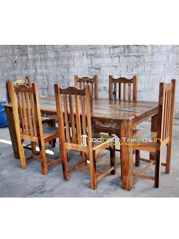 Retro Dining Set, Reclaimed Restaurant Furniture , Rustic Wood Restaurant Tables