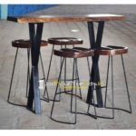 Live Edge Bar Table High Table Set Cafe Furniture Wholesale