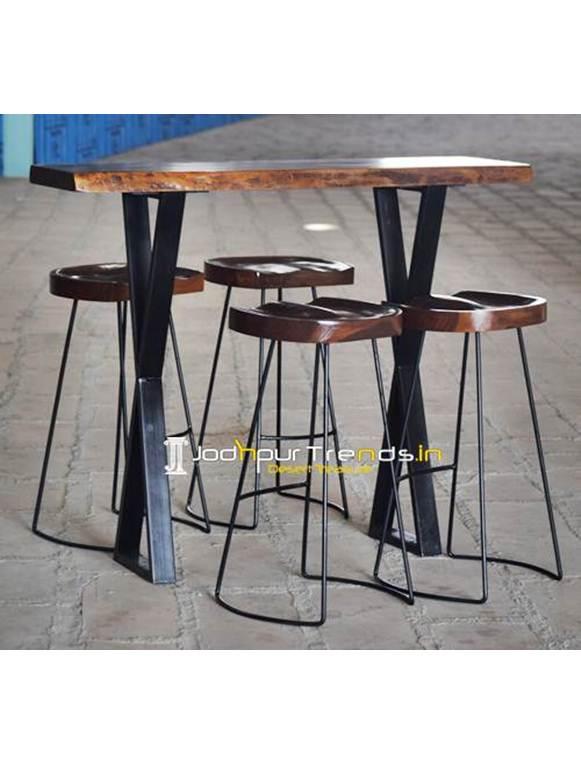 Live Edge Bar Table High Table Set Cafe Furniture Wholesale