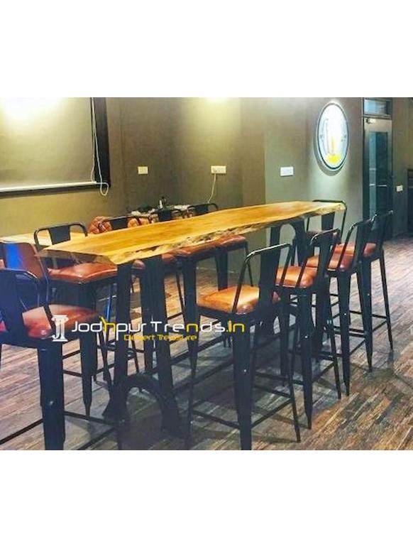 Live Edge Bar Table Set Cast Iron Bar Set High End Restaurant Furniture