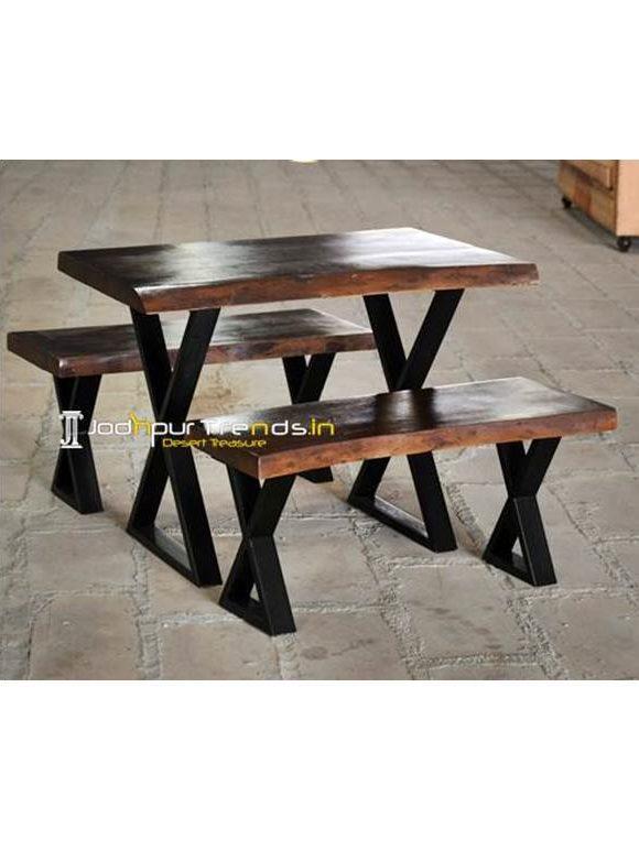 Live Edge Table Set Cafe Bench Set Cafe Furniture Suppliers