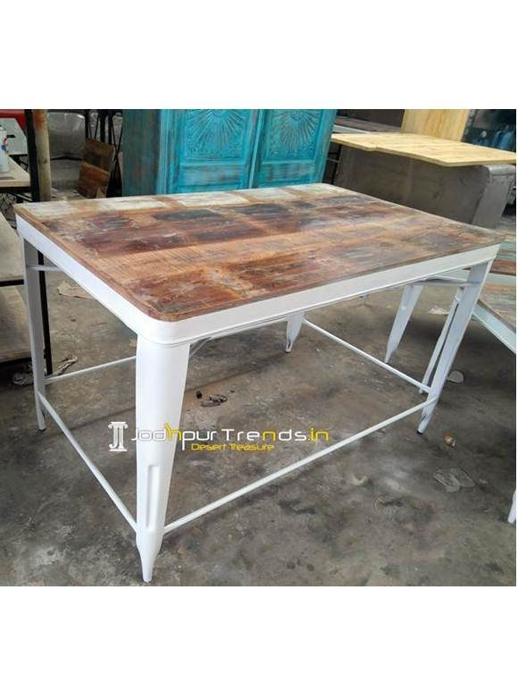 Metal Wooden Bar Table Restaurant Bistro Tables