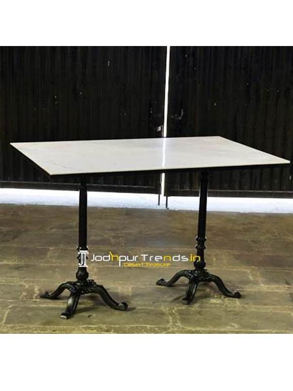 Outdoor Marble Cast Iron Table Outdoor Restaurant Table
