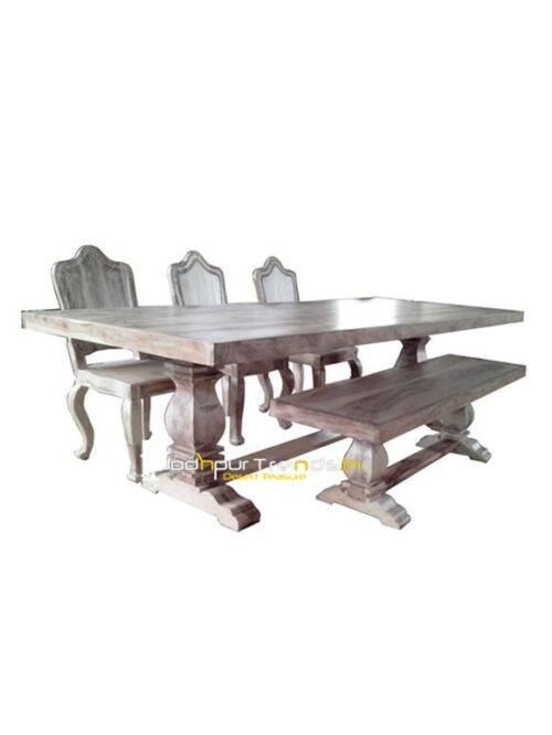 Solid Wooden Restaurant Tables Distress Table Set Fine Restaurant Furniture