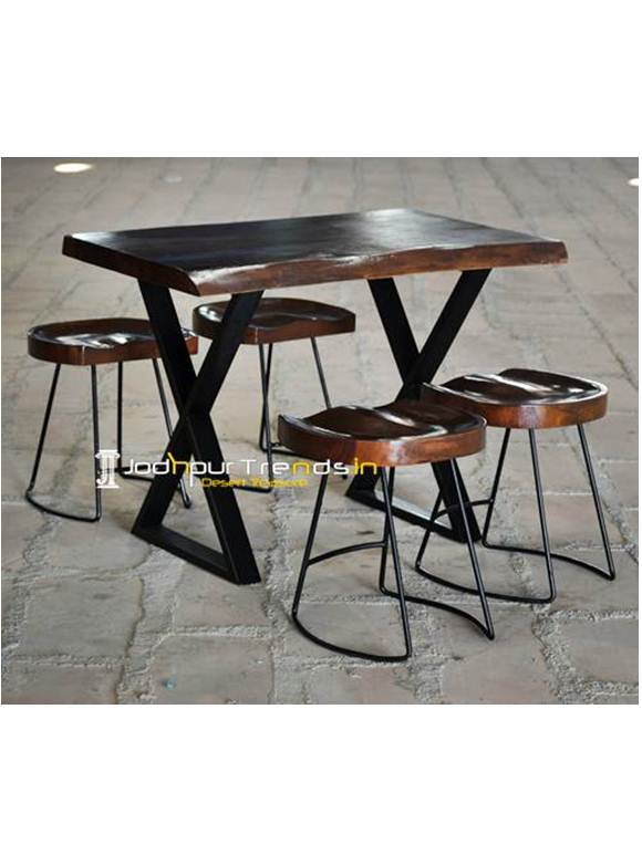 Wooden Stool SetCoffee Table Set Restaurant Furniture Rajasthan