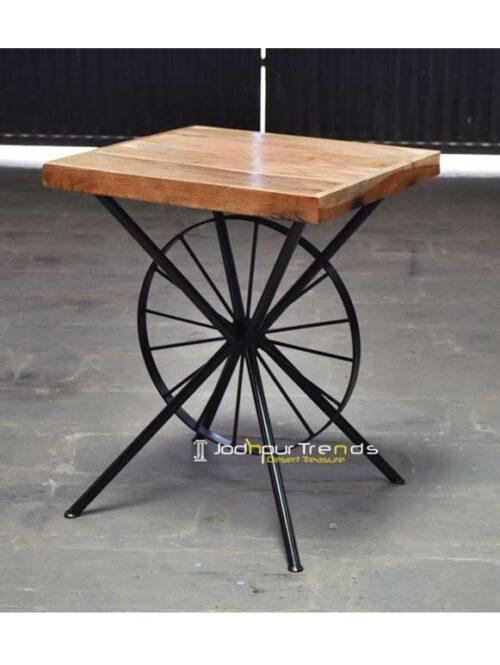 Acacia Wheel Table Bistro Furniture