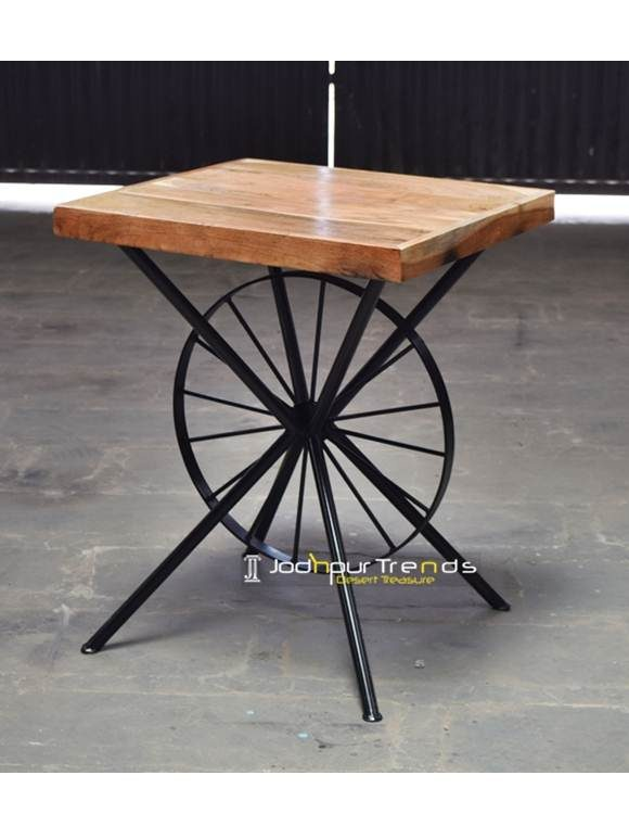 Acacia Wheel Table Bistro Furniture