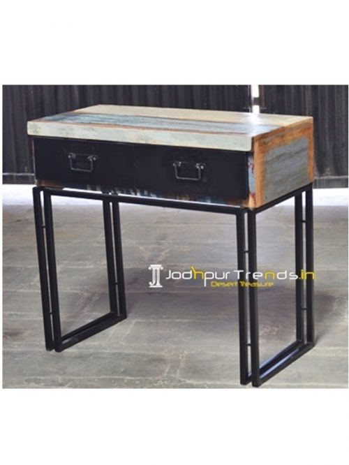 Compact Study Table Reclaimed Boat Wood Furniture