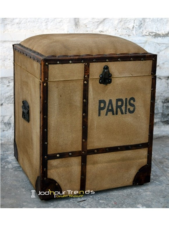 Distressed Brown Storage Foot Stool, hotel furniture design