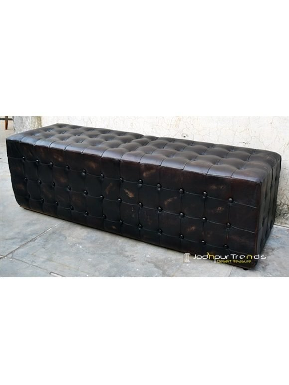 Genuine Handmade Leather Footstool Ottoman
